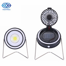 Portable 2 in 1 Outdoor Solar Power USB Rechargeable COB LED Camping Tent Light with Rotation Fan(China)