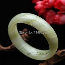 white christmas gift Certified 100% Green Fashion Retro Female Natural Jade Home Decor>>Crafts Bangle Bracelet(China)