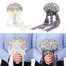 Gorgeous! Luxurious Wedding Accessories Brooch bouquet Ivory Gray Crystal Wedding Bouquet Silk Wedding flowers Bridal Bouquets(China)
