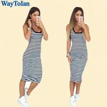 WayToIan Summer Style Sleeveless Women Dress korea Fashion O-Collar Maxi Dress Casual Black And White Striped Dress