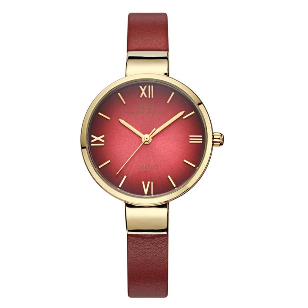 IBSO Fashion Red Watch Women Genuine Leather Band Analog Quartz Wristwatch Waterproof Women Watches 3923 <br>