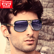 TRIUMPH VISION Black Aviator Sunglasses Men Gradient UV400 Sun Glasses For Men Luxury Brand Designer Pilot Oculos Shades Male