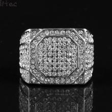 Iftec Men's Stainless Steel Square Ring Bling Bling Rhinestone Crystal Silver Gold Color Punk Rings Fashion Hip Hop Jewelry