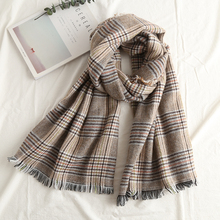 2018 new arrive houndstooth scarves shawls trend of classic tassel collar thick, nice winter women scarf(China)