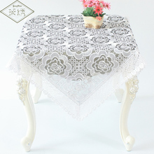 Free shipping white wedding tablecloth embroidered lace table cover