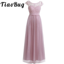 TiaoBug Embroidered Women Lady Bow Summer Style Fast Shipping Long Sleeveless Ball Gown Prom Princess Bridesmaid Chiffon Dress