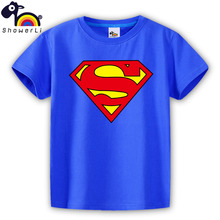 short sleeve children t shirt, boys girls t shirt kids wear color cotton yellow clothes super man logo