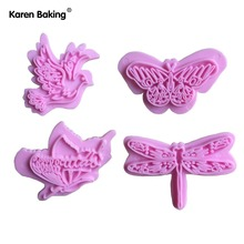 1 Set Beautiful Butterfly, Bird Shape Fondant Cake Cookie Cutter Plunger Cake Decorating Tools-A236