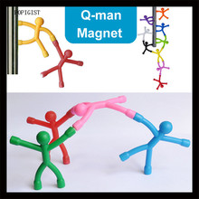 9PCS Novelty Mini Q-Man Magnet, Cute Rubber Magnet Men Refrigerator Magnets Magnetic Toy For Kids And Adults Office Magnets(China)