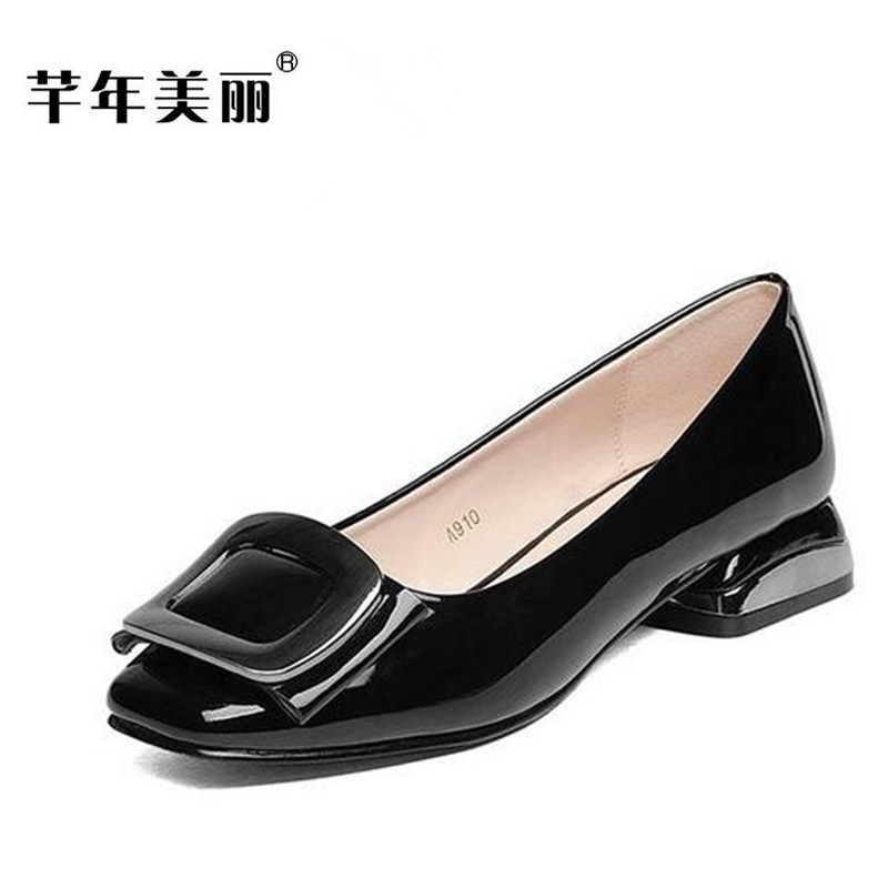 2017 Spring autumn new patent leather large size High heel Women Shoes 40-43 41 black Work shoes Crude heel Middle heel pumps<br>