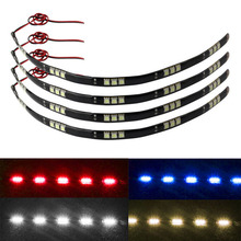 4PCS Universal 12V 30cm 5050 15 LED Car Trucks Moto Grill Flexible Waterproof Light Strips Home Automotive LED Light Source