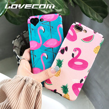 LOVECOM Pink Flamingo & Pineapple Case Coque For iPhone 6 6S 7 Plus Silk Soft TPU With Heart Camera Hole Phone Cases Back Cover