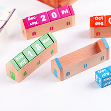 Novelty Desk Calendars DIY Cute Kawaii Wooden Perpetual Table Calendar Items for Kids School Office Supplies(China)