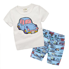Summer 2017 Latest Kids Boys Clothes Set Cartoon Car Pattern Toddler Boys Clothing Sets Fashion Children Clothing T6204(China)