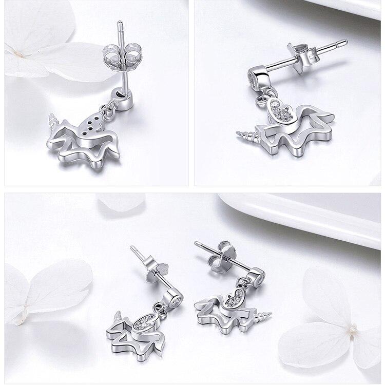 100% 925 Sterling Silver Trendy Unicorn Earrings