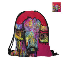 Cattle Printing Drawstring Backpack For Beach School Shopping Fashion Polyester Bags Women Men Pouch Backpacks Shoulder Bag(China)