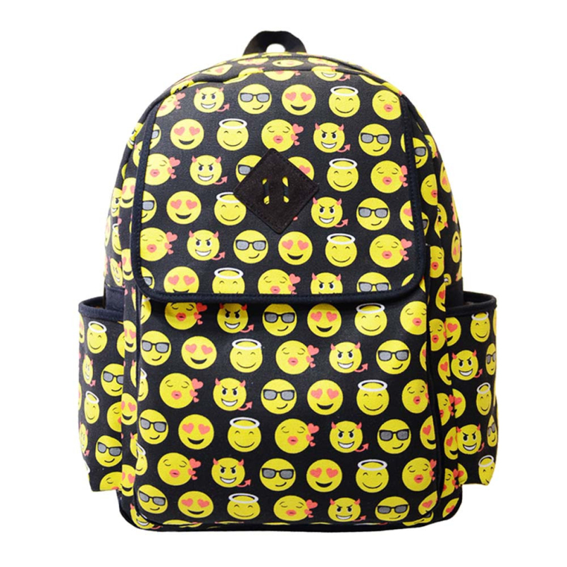 New Fashion Vintage Retro Backpack Womens Canvas Travel Backpack  Smiley Emoji Face Printing for Teenage Girls Rucksack<br><br>Aliexpress