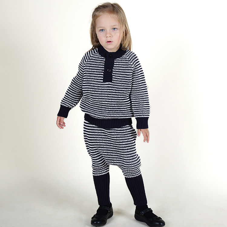 New Casual Spring Baby Girl Sweater + Harlan Pants 2pc/set Striped Cotton Girls Clothing Sets<br><br>Aliexpress
