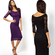 Elegant women floral lace sexy dress three quarters sleeves spring summer women's bodycon lace long dress party purple black