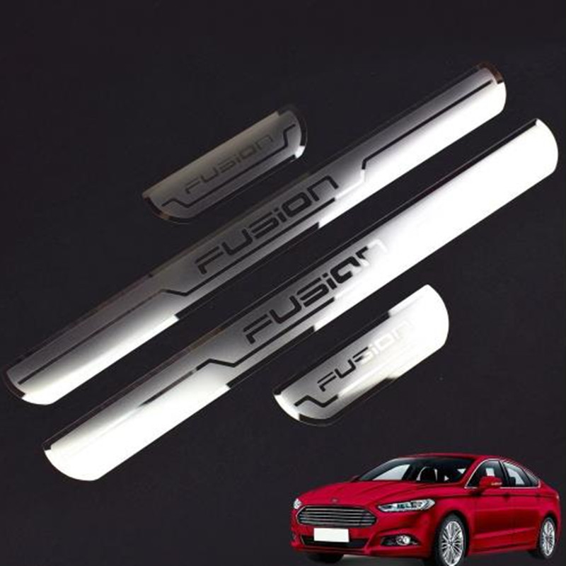 Car Chrome Steel Door Sill Scuff Plate Guards Trim Fit For Ford Fusion 2013-2016
