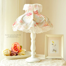 European style lamp Lace table lamp Princess Room girls bedroom children room Korean small fresh floral fabric lamp(China)