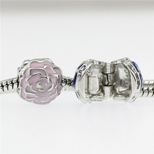 5 colour flower Beads Fits Pandora Charms bracelets safety Bead Clip Stopper Star Pattern European Charm DIY Jewelry