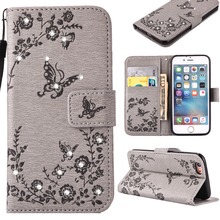 Cell Phone Cases For Apple iPhone 7 Plus iPhone7 Plus Pro 5.5 inch Covers Hood PU Leather Diamond Butterfly Housing Bags SCAM04