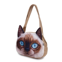 2016 Original Retro Cartoon Animals Bags Suede Personalized Tote Bag Women's Fashion Handbag 3D Printed Cat Head Shoulder Bag(China)