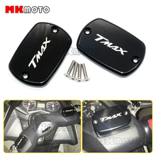 Pair Black Color Motorcycle accessories Motorbike Brake Fluid Tank Cap Cover For YAMAHA TMax 500 TMax 530