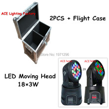 Flight Case with 2 pieces High quality 18x3w RGB CREE LED mini Moving Head Light Moving Head Wash Light For Event,DJ/Disco Party