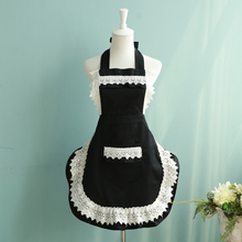 French Style Maid Apron Black/white Lace Apron Fashion Women Kitchen Cooking Cafe Waiter Aprons Princess Bib With Pocket(China)