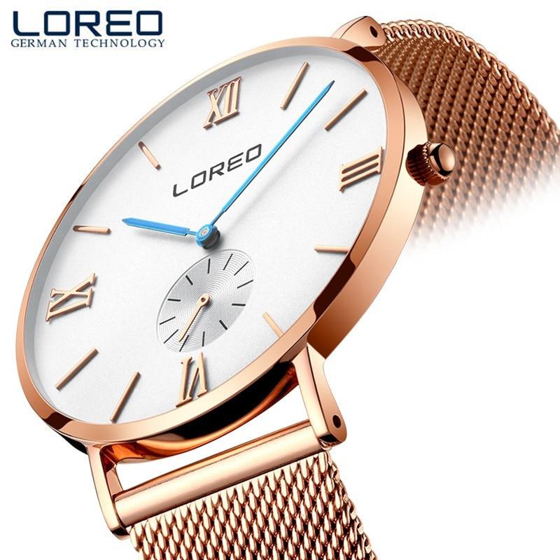 LOREO Fashion Classic Brand Watches Men Quartz Sport Watch Watchcase Ultra Thin Stainless Steel Mesh Belt Relogio Masculino M26<br>