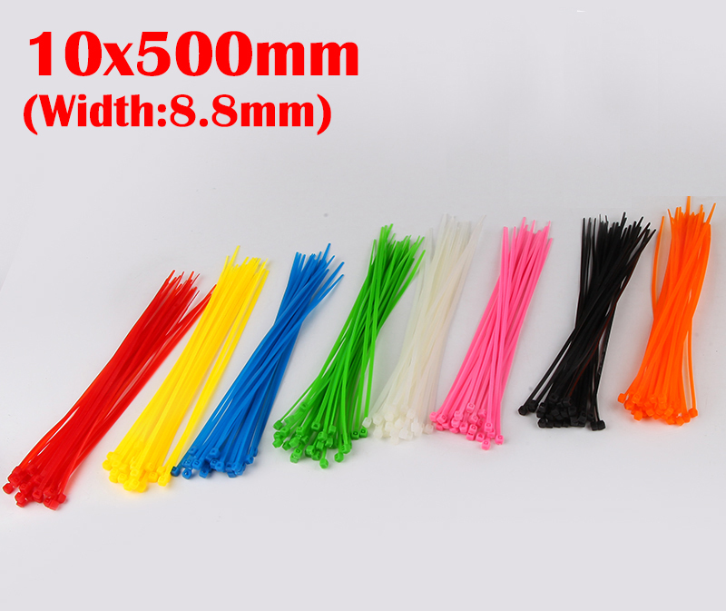 100pcs 10x500 10*500mm (8.8mm Width) Black White Nylon66 Network Electric Wire String Zip Fastener Self-Locking Cable Tie<br><br>Aliexpress