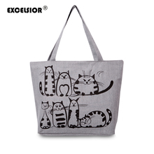 EXCELSIOR 2017 Cartoon Cats Printed Beach Zipper Bag Bolsa Feminina Canvas Tote Shopping Handbags sac a main femme de marque(China)