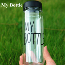 My Bottle 500 ml With Gift Bag Plastic Water Bottle Sport Lemon Juice Circle Clear Bottle(China)
