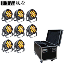 Free Shipping 8pcs/lot Flight Case Waterproof IP65 Outdoor Led Par RGBWA+UV 6in1 Led Par Can 12x18W Led Par Light