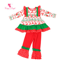 2017 Christmas Toddler Kids Wholesal Fall Children Clothing Gift Girls Boutique Outfits Clothes Birthday Party Baby Pajamas Set