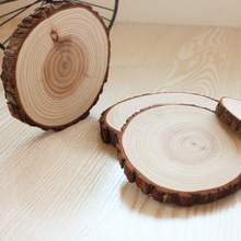 PINJEAS set of 6  Natural wood big coasters Slices Pine Wood coasters Slices Rustic Tree Branch Slices for Craft high 1cm