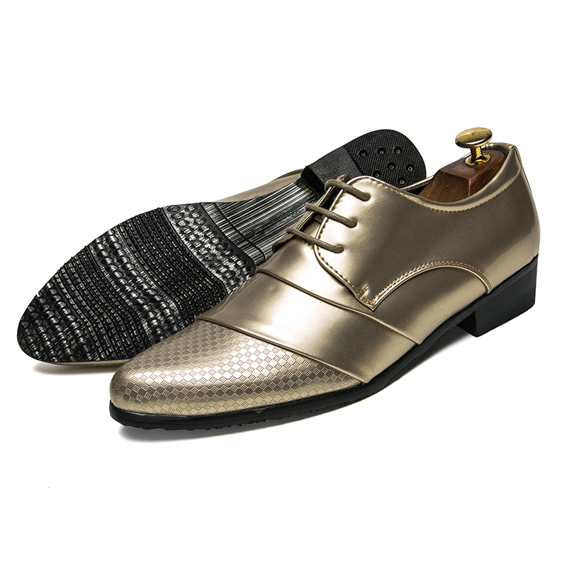 comfortable mens dress shoes luxury brand italian gold male footwear formal patent leather woven skin derby oxford shoes for men (6)