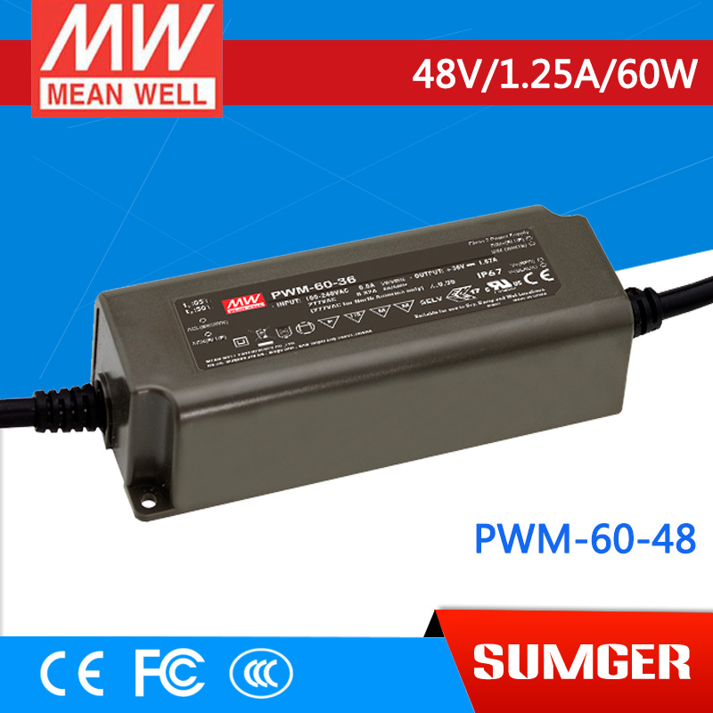 1MEAN WELL original PWM-60-48 48V 1.25A meanwell PWM-60 48V 60W Single Output LED Power Supply<br>
