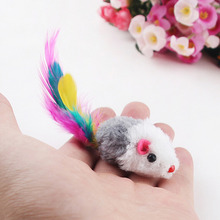 New 5pcs/lot Funny False Mouse Rat Toys for Cat Kitten Colorful Plush Mini Mouse Toys Pets Cat Playing Toy(China)