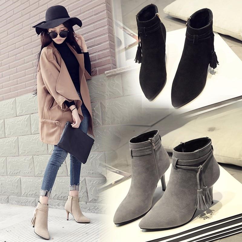 HIZCINTH 2017 New Winter Ankle Boots Heels Tassel Bandage Female Temperament High Heels Pumps Shoes Woman Botas Short Booties<br>