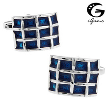 iGame Men Enamel Cuff Links Wholesale&retail Copper Material Blue Color Grid Design Free Shipping(China)