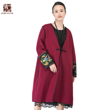 Jiqiuguer Women Embroidery Patchwork Winter Woolen Coat Full Sleeve Plus Size Red Jackets Coats Warm Loose Long Outwear G164Y016(China)