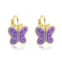 Cute Pink / Purple Enamel Butterfly stud Earrings For Women Child gold color earrings d'oreille Best Friend Jewelry Gift