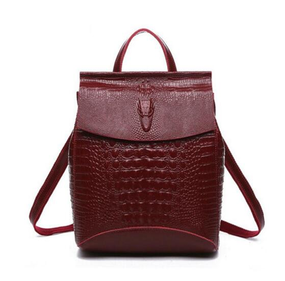 High Quality Crocodile Pattern Women Genuine Leather Backpack Fashion Korean Style Leather Shoulder Bags School Backpacks<br>
