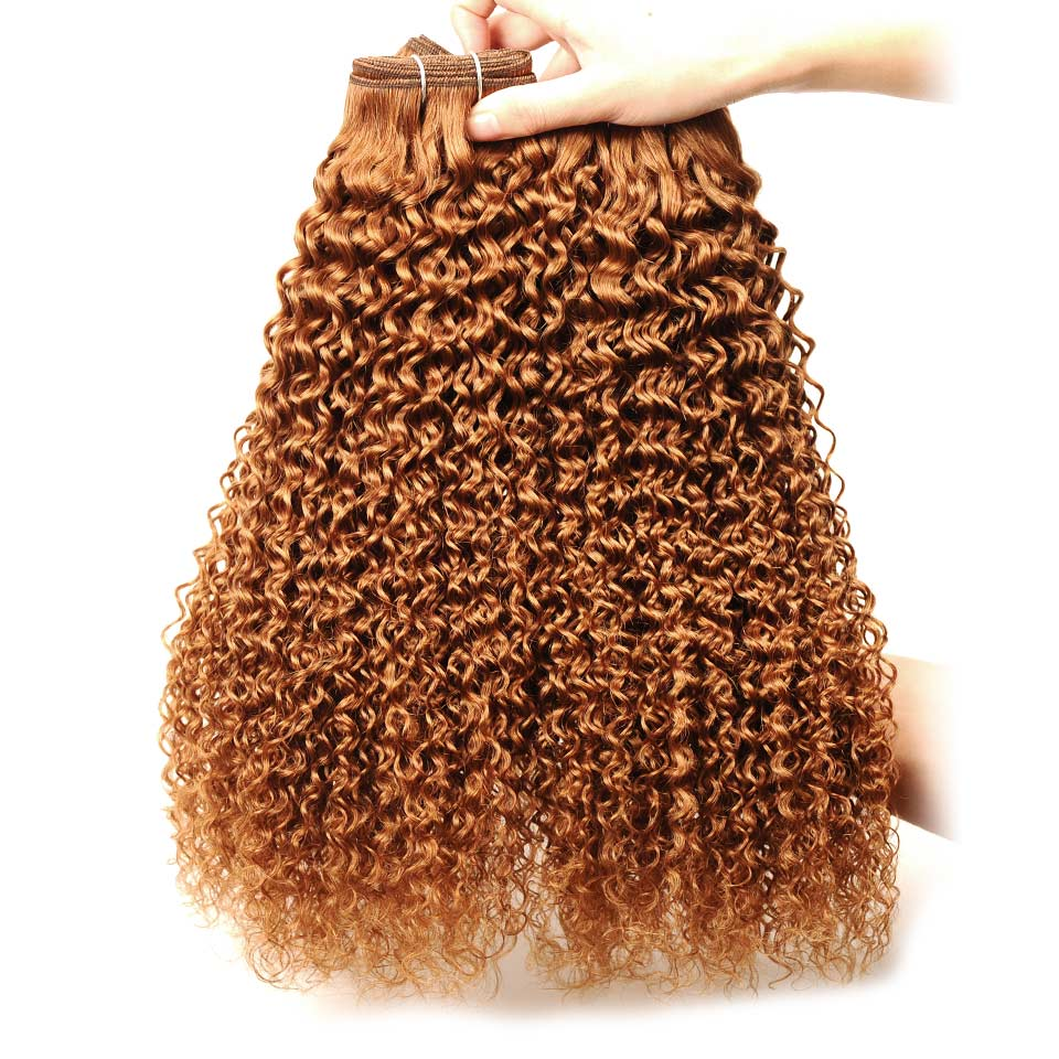 Pinshair Pre-Colored 10-26 Non-Remy Brazilian Jerry Curly Color 30 Hair Weave 4 Bundles 400GPack 100% Human Hair  Thick Wefts (5)