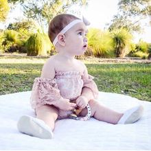 Best Cute!New Arrivals Baby Girl Pink Romper Birthday Party Clothes Bebe Baby Born Princess Jumsuits Toddler Pink Lace Clothes