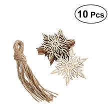 10pcs Wooden Embellishments with String Christmas Decoration Snowflake Pattern Pendant Christmas Tree Hanging Ornament(China)
