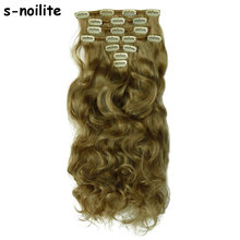 Real Thick Clip In Hair Extensions Long Curly Wavy Full Head Hair Extentions Highlight 100% Natural Synthetic Hairpiece(China)